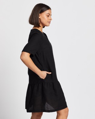 AERE Casual Linen Dress - Dresses (Black)