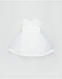 Bebe by Minihaha - Short Sleeve Organza Dress With Bow - Babies