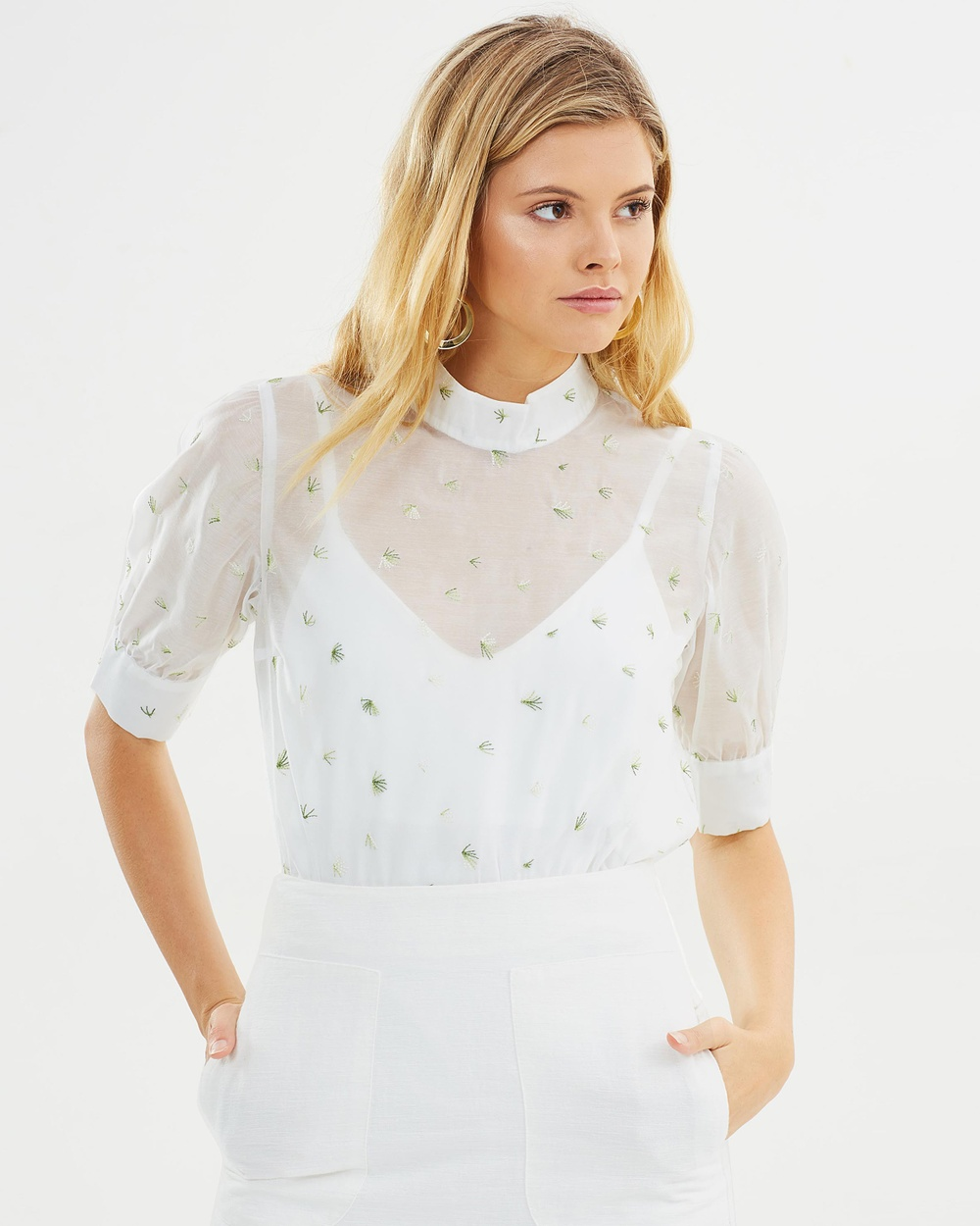 The East Order Thistle Top Tops White With Leaf Embroidery Thistle Top