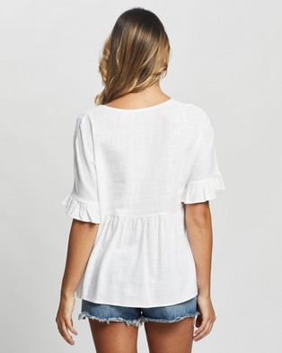 Atmos&Here Fiona Flutter Sleeve Linen Blouse - Tops (White)
