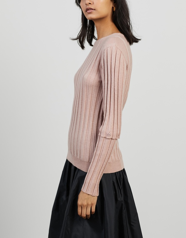 Women Lou Button Sleeve Ribbed Knit