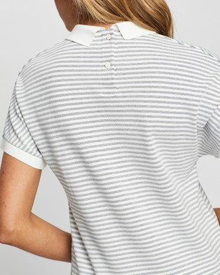 Lacoste Classic Stripe Textured Pique Polo - Tops (Navy)