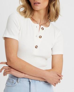 Calli Grace Button Tee - T-Shirts & Singlets (White)