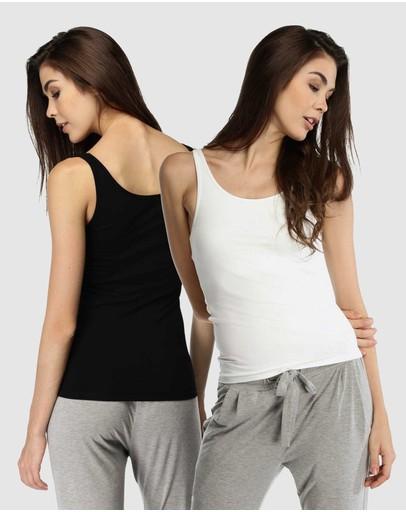 Deshabille Sleepwear All You Tank Black/ivory