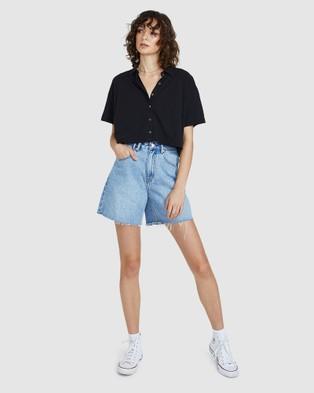 Insight Freja Boxy Polo Shirt - Tops (BLACK)