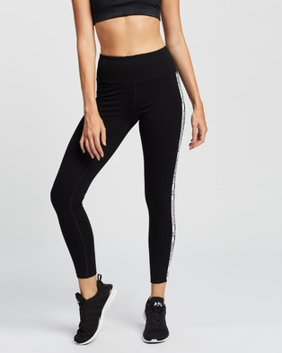Calvin Klein Performance - Double Logo Elastic High Waist Full Length Leggings Tights (Black)