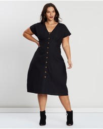 Cotton On - Curve Button Front Midi Dress