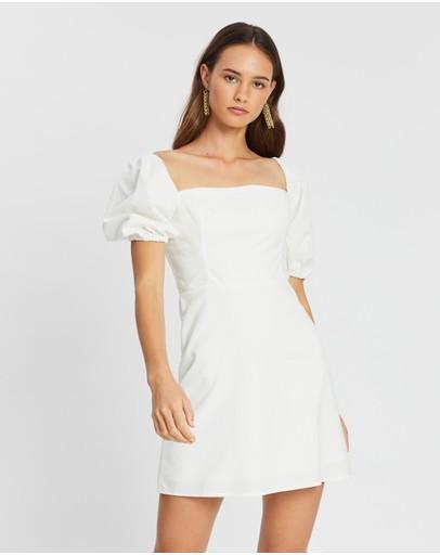 Atmos&here Diana Puff Sleeve Linen Mini Dress White