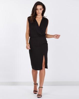 Tussah – Adelaide V Neck Dress – Dresses (Black)
