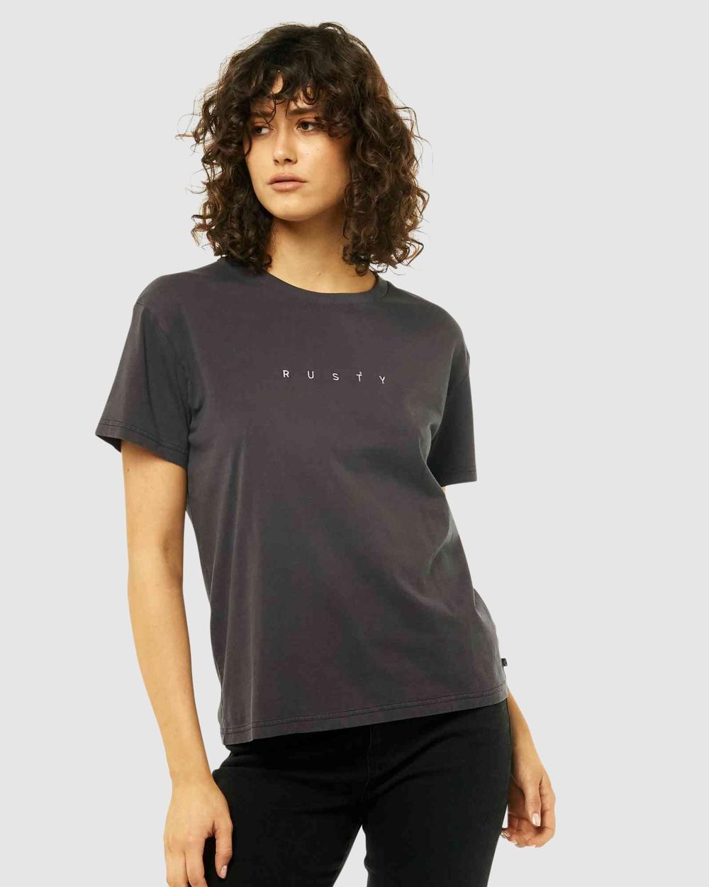 Rusty Essentials Ember Short Sleeve Tee T-Shirts BLK Australia