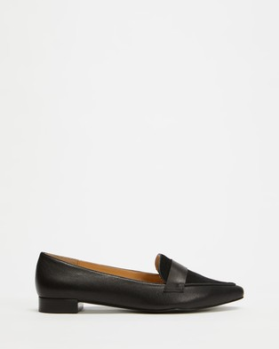 Atmos&Here Cara Loafers - Flats (Black & Black Suede)