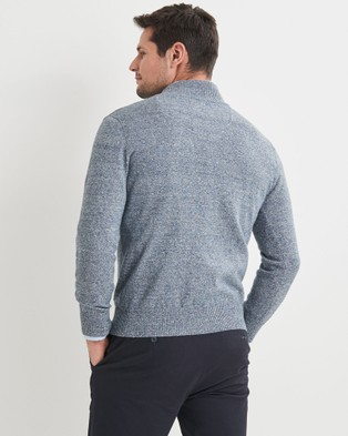Blazer Liam Cotton Half Zip Knit - Jumpers & Cardigans (Blue)