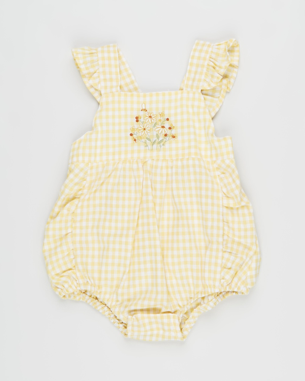 Bebe by Minihaha Chloe Gingham Playsuit Babies Jumpsuits & Playsuits Yellow