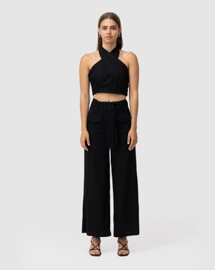 The Wolf Gang Sahara Linen Twist Neck Top - Cropped tops (Black)