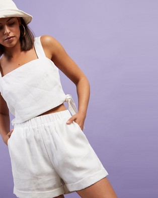 Dazie Little Italy Linen Shorts - High-Waisted (White)