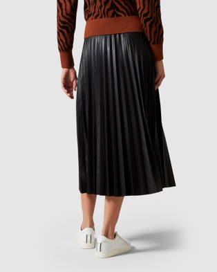 French Connection Leather Look Pleated Midi Skirt - Skirts (BLACK)