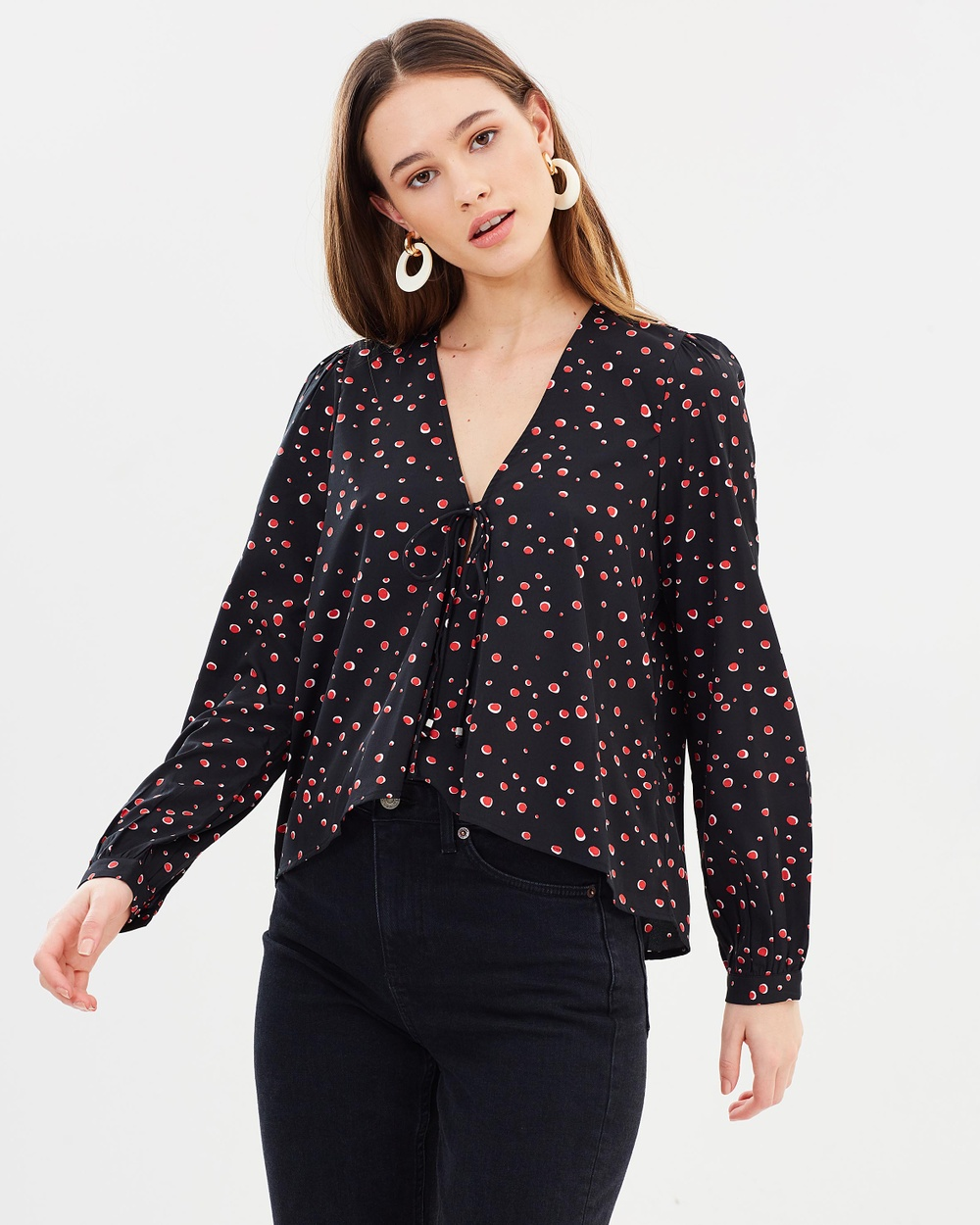 Vero Moda Henna Dot LS Top Cropped tops Black Henna Dot LS Top