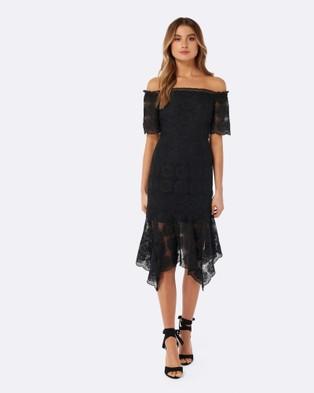 Forever New – Preseley Hanky Hem Bardot Dress – Bridesmaid Dresses Black