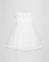 Bebe by Minihaha - Short Sleeve Organza Dress With Bow - Kids
