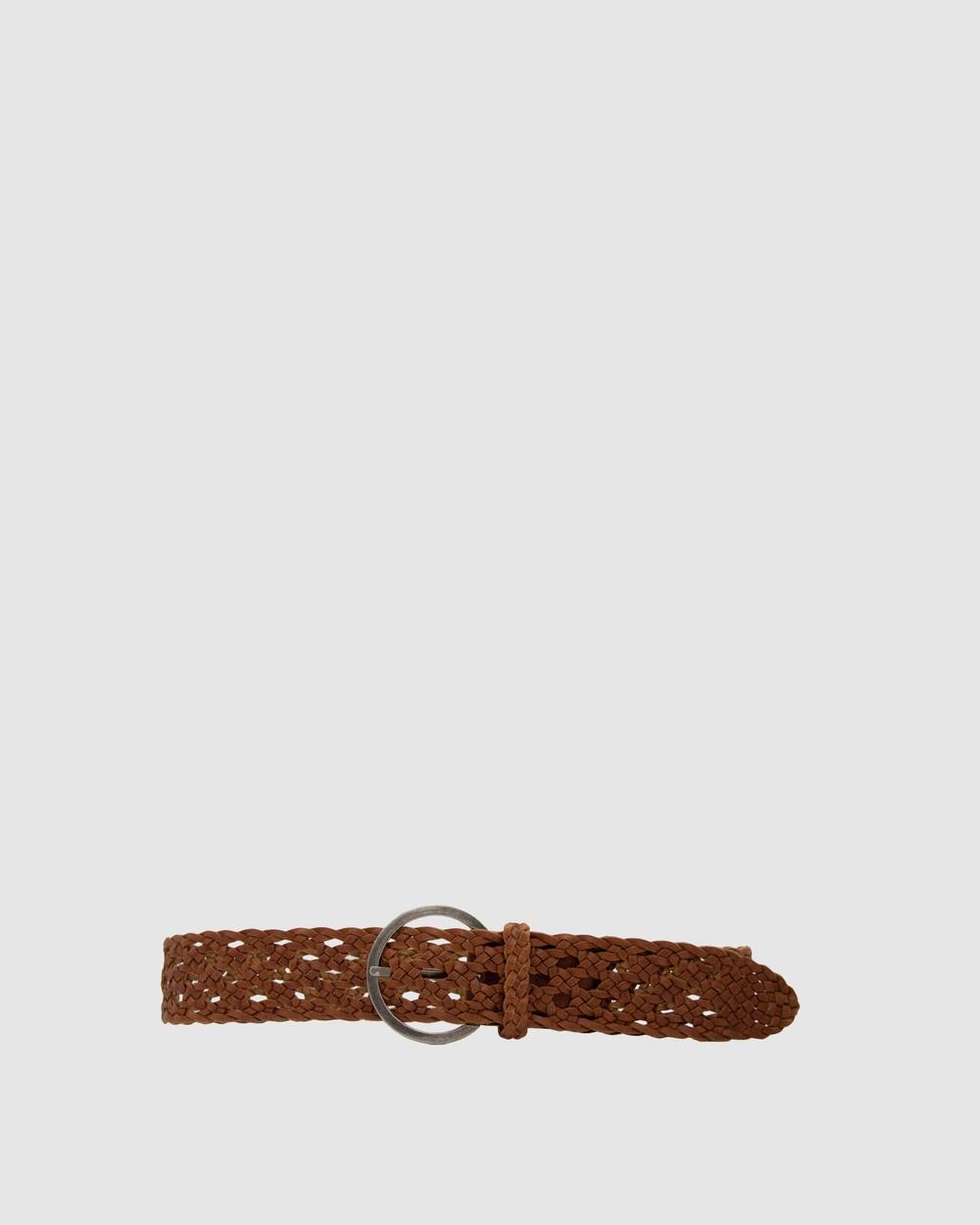 Loop Leather Co Boston Braid Belts Dark Tan