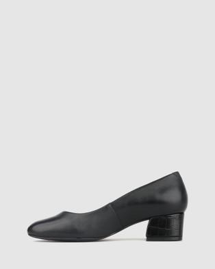 Airflex Vented Leather Block Heel Pumps - All Pumps (Black/Black Croc)
