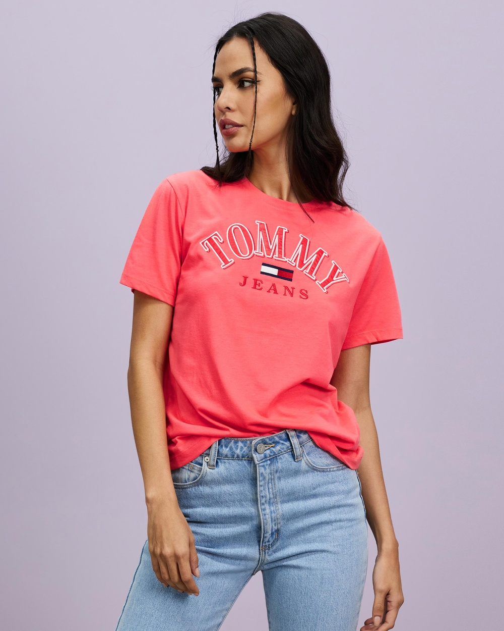 Tommy Jeans TJW Relaxed College Logo Tee T-Shirts & Singlets Diva Pink Australia
