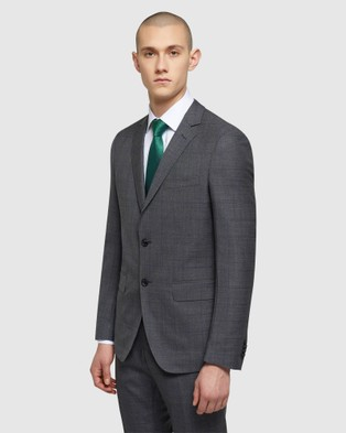 Oxford Auden Wool Checked Suit Jacket - Suits & Blazers (Grey)