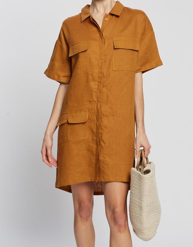 Women Linen Utility Dress