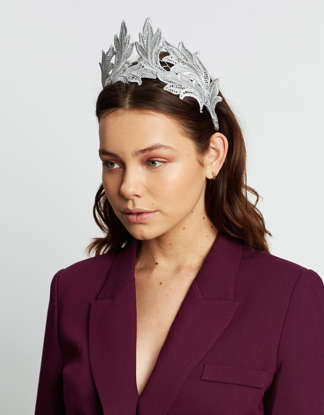 Women Crown Lace Headband Fascinator