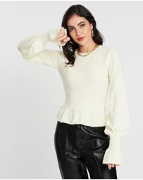 Missguided - Frill Hem and Sleeve Crop Jumper