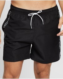Calvin Klein Swimwear - Core Logo Tape Medium Drawstring Boardshorts