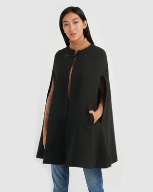Forcast Kennedi Round Neck Cape Coat Coats & Jackets Black