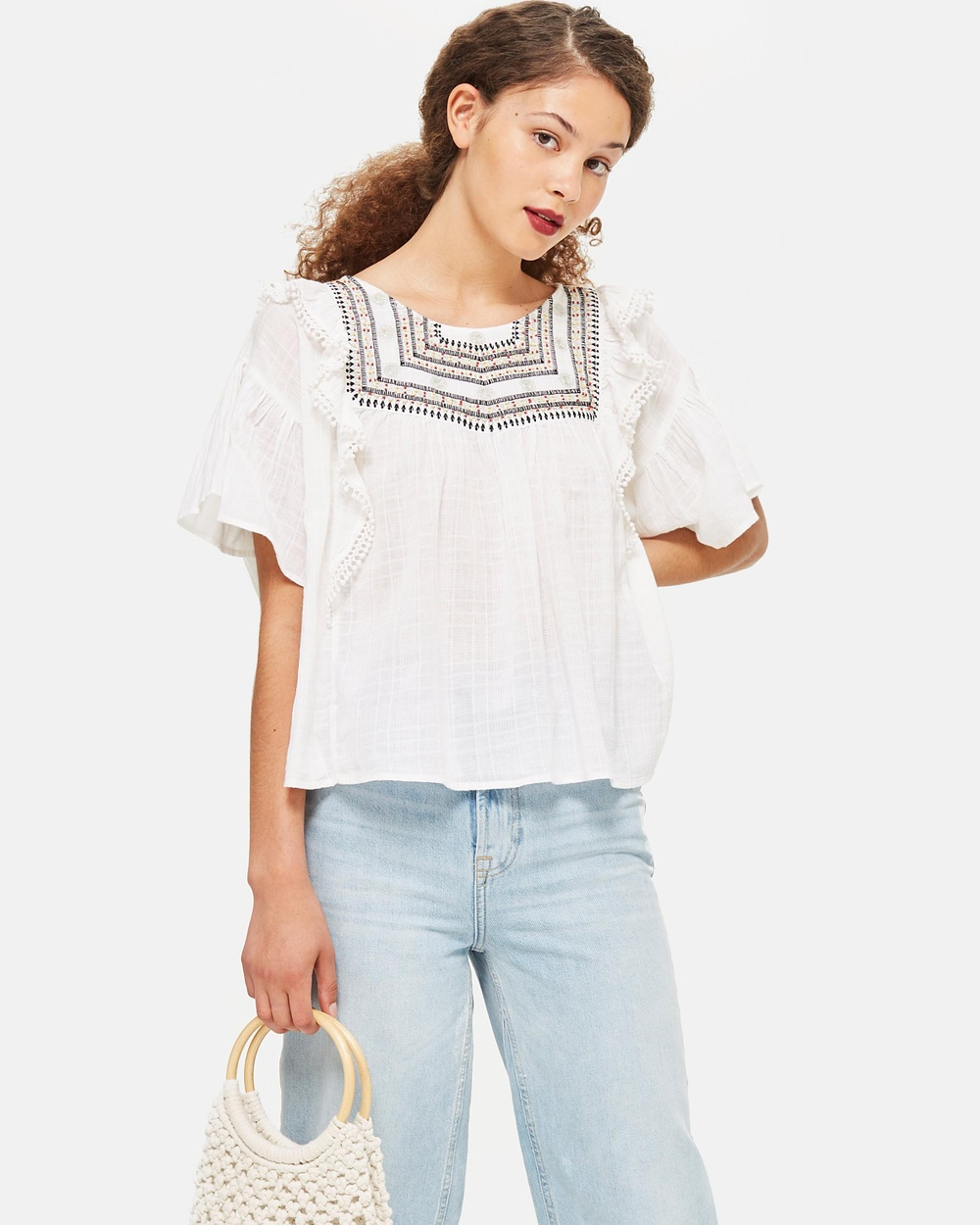 TOPSHOP Embroidered Smock Blouse Tops Ivory Embroidered Smock Blouse
