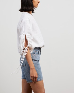 AERE Tie Sleeve Blouse - Tops (White)