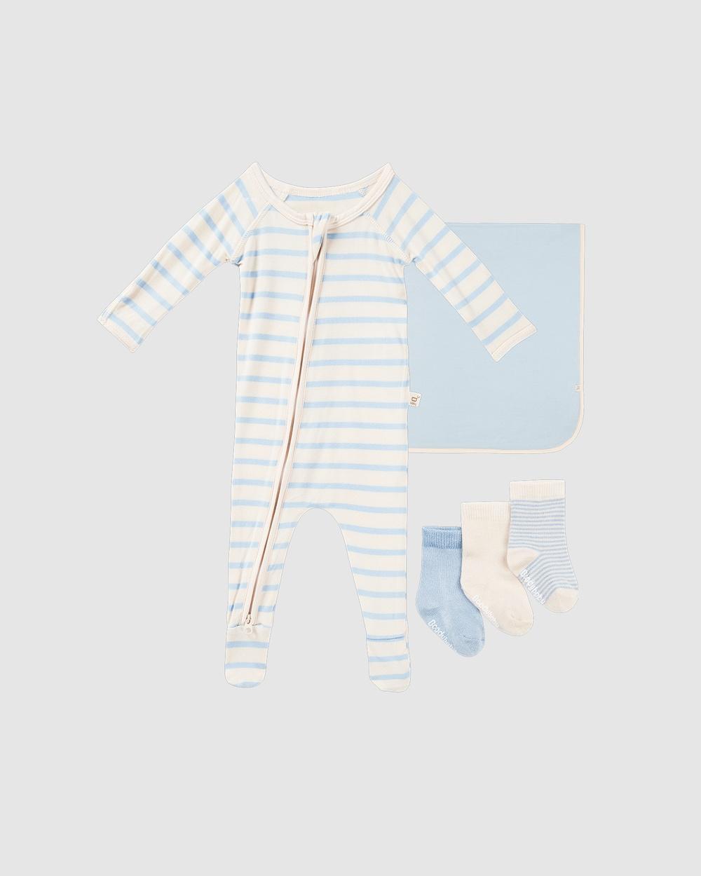 Boody Everything Bub Needs Gift Set 3 Items Wraps & Blankets Sky/Sky Stripe