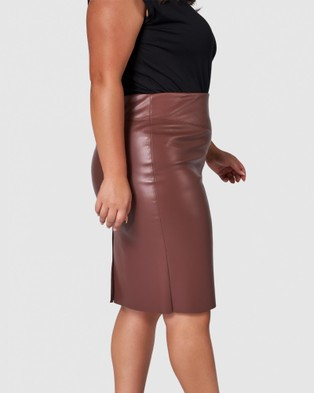 Something 4 Olivia Amelie Pu Pencil Skirt - Leather skirts (BROWN)