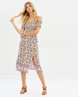 Atmos & Here – Pearl Smocked Midi Dress – Printed Dresses Bohemian Print