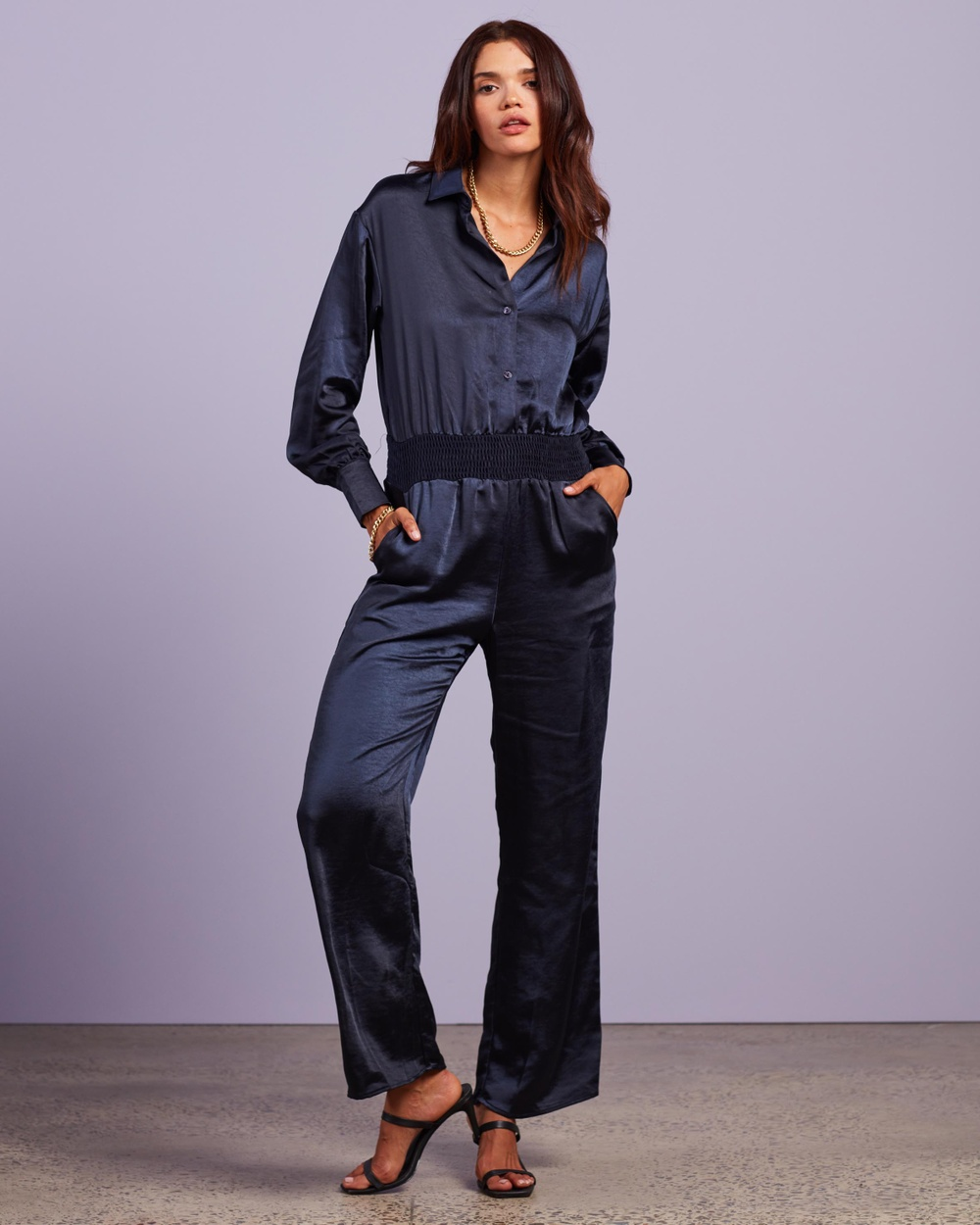 4th & Reckless Gaia Jumpsuit Jumpsuits Playsuits Navy
