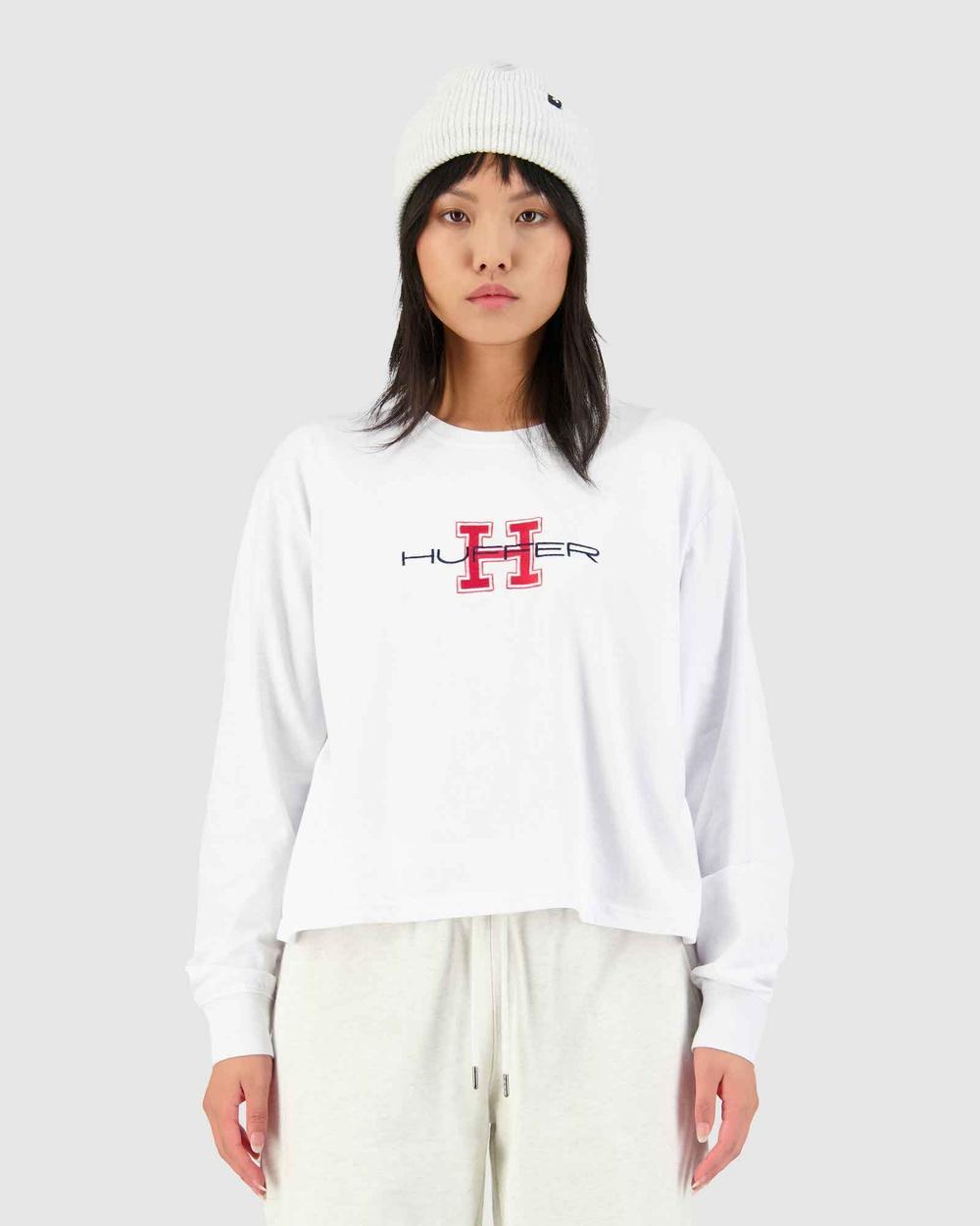 Huffer LS Chloe Tee College H T-Shirts & Singlets White Tee-College Australia