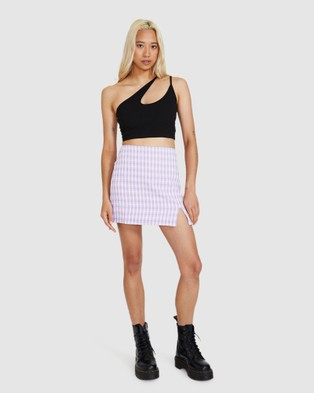 Neon Hart Quarter Gingham Mini Skirt - Skirts (ASSORTED)