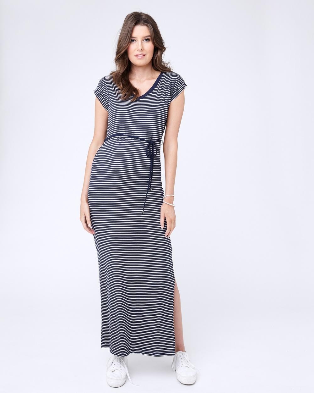 Ripe Maternity Meghan Striped Maxi Dress Dresses Navy-White Meghan Striped Maxi Dress