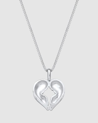 Elli Jewelry Necklace Curb Chain Heart Wing Pendant in 925 Sterling Silver - Jewellery (Silver)