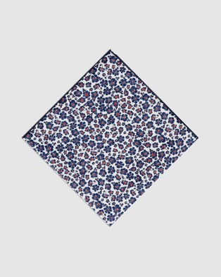 Buckle Flora Pocket Square - Pocket Squares (Navy/White)