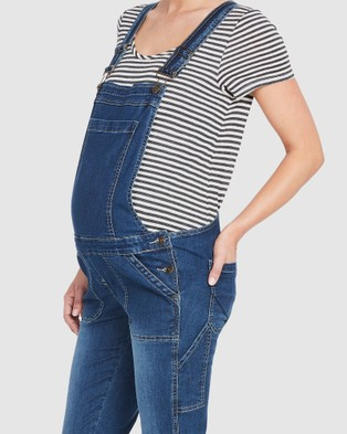 Soon Maternity Alice Denim Maternity Overalls - Jumpsuits & Playsuits (MID-BLUE)