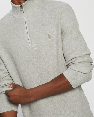 Polo Ralph Lauren Half Zip Long Sleeve Sweater   The ICONIC Exclusives - Jumpers & Cardigans (Andover Heather)