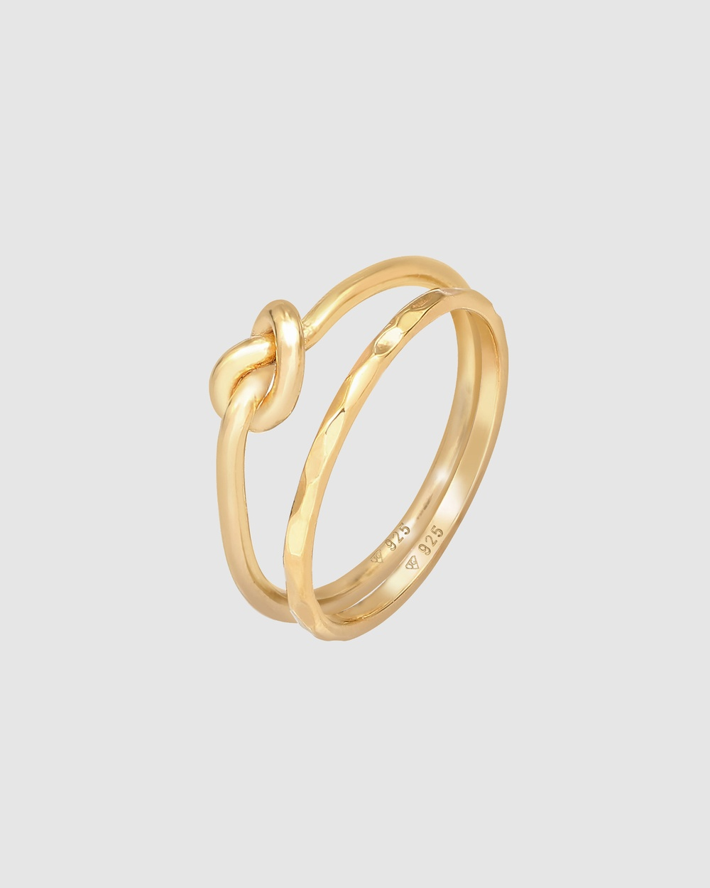Elli Jewelry Ring Set Knot Trend Basic Minimal in 925 Sterling Silver Gold Plated Jewellery Gold