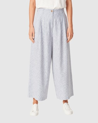 French Connection Linen Wide Leg Pants - Pants (NAVY/WHITE)