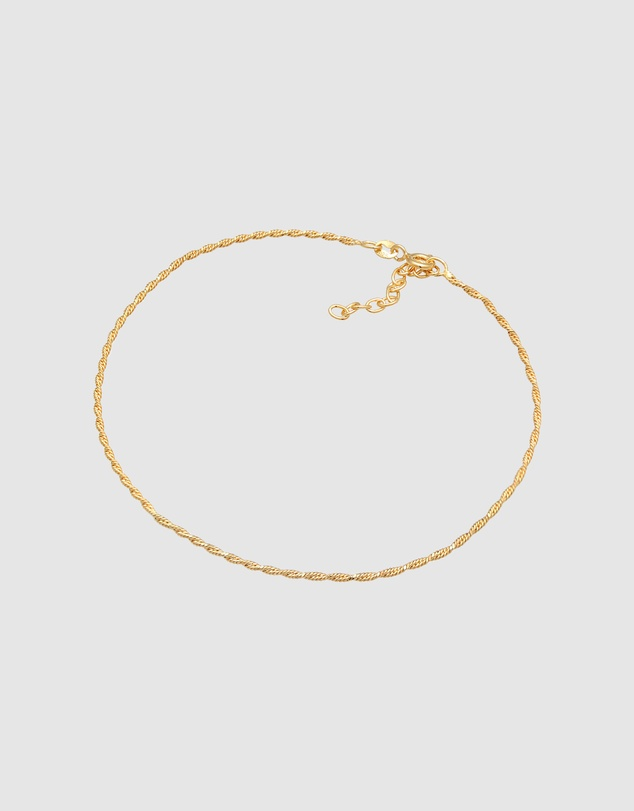 Women Anklet Twisted Cord Trend Adjustable in 925 Sterling Silver Gold Plated
