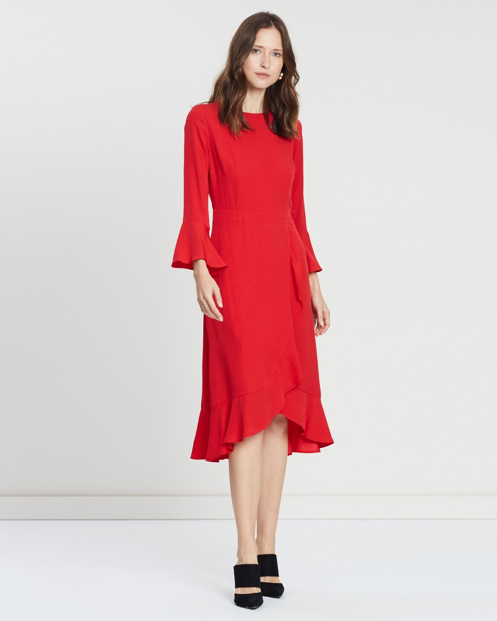 Ivy & Oak Red Long Neckholder Volant Dress