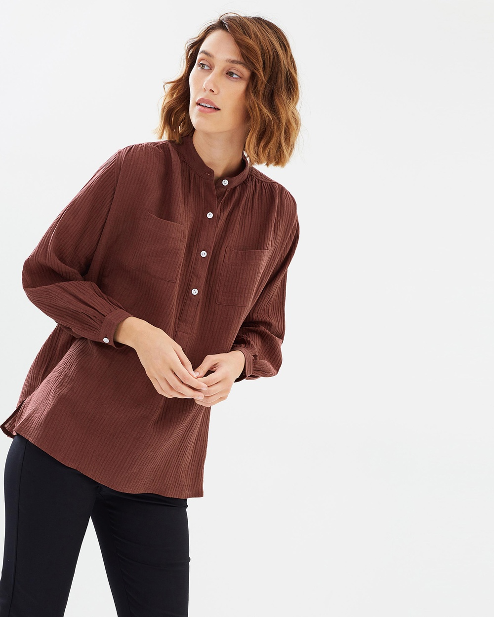 Weathered Nina Relaxed Shirt Tops Wine Nina Relaxed Shirt